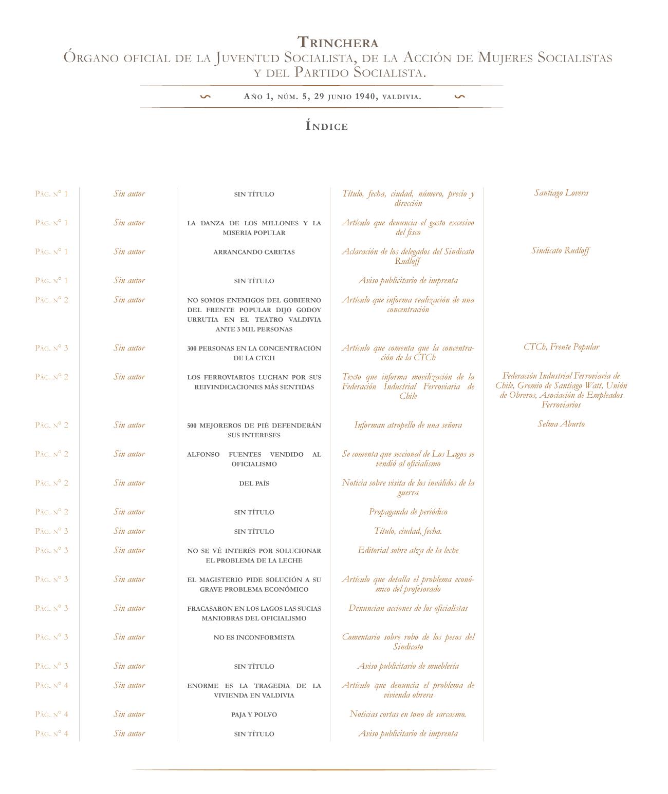 Trinchera no. 5