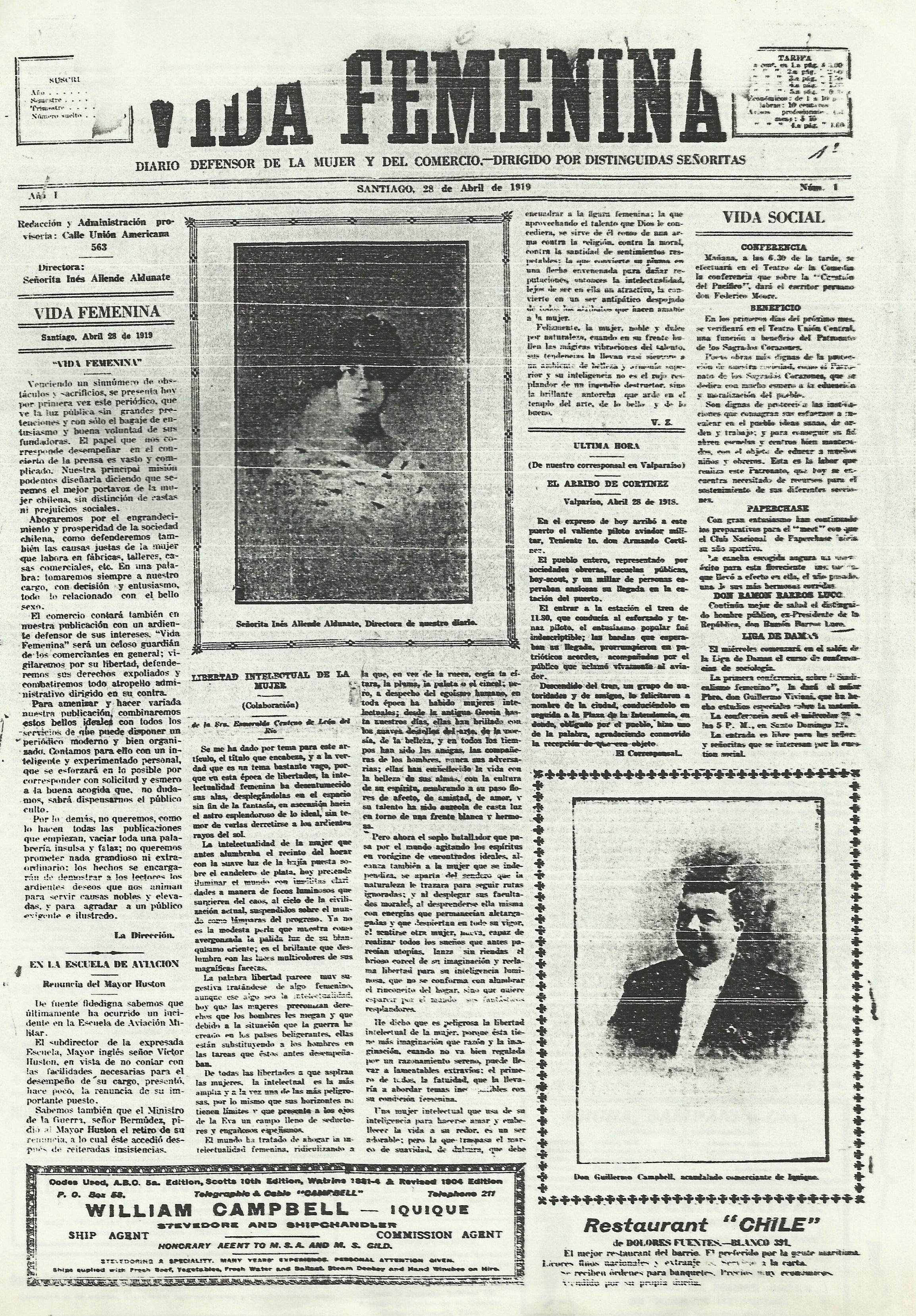 Vida Femenina nº 1, pág. 1