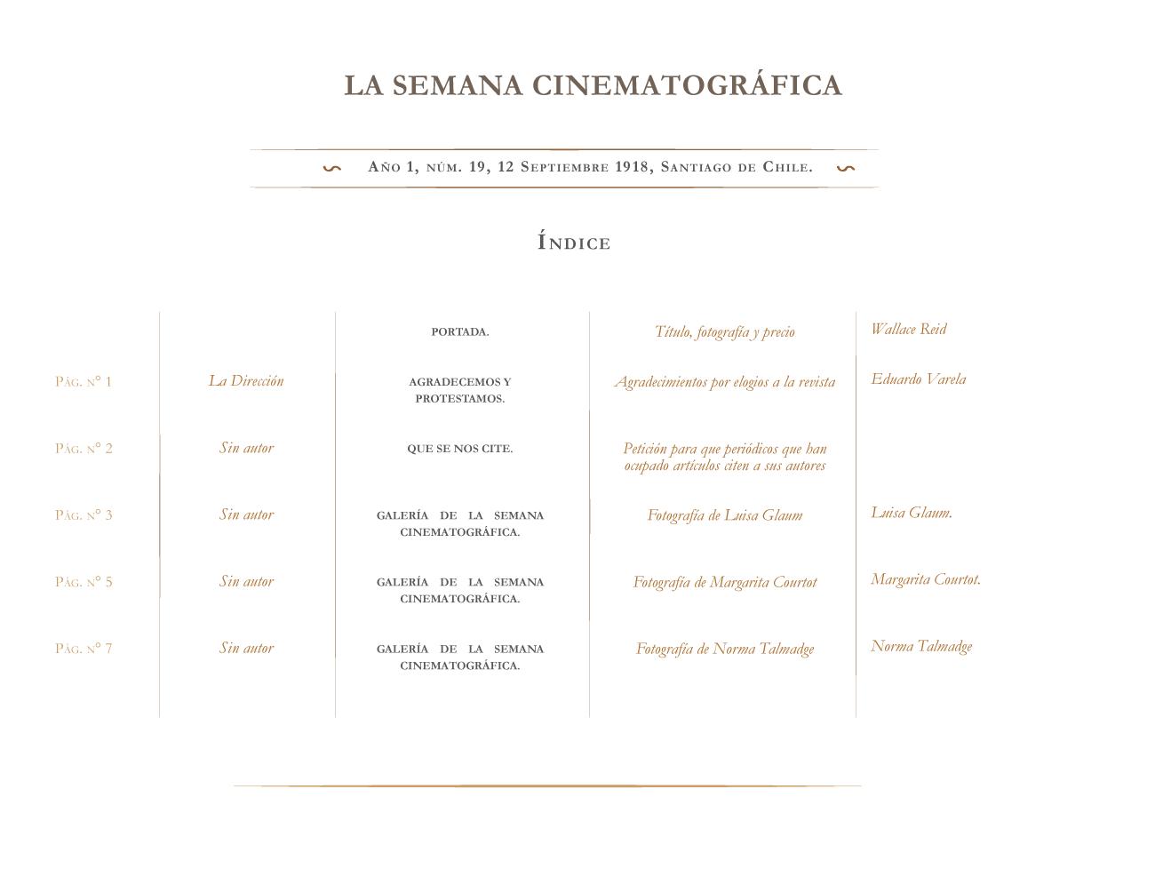 La Semana Cinematográfica nº 19